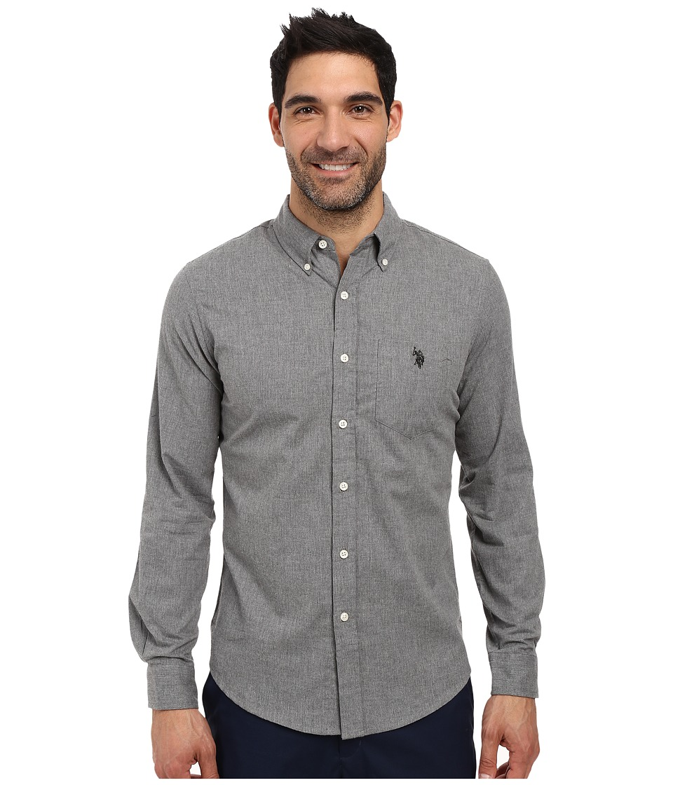 U.S. POLO ASSN. - Slim Fit Brushed Twill Button Down Collar Solid Woven Shirt (Heather Dark Gray) Men's Clothing