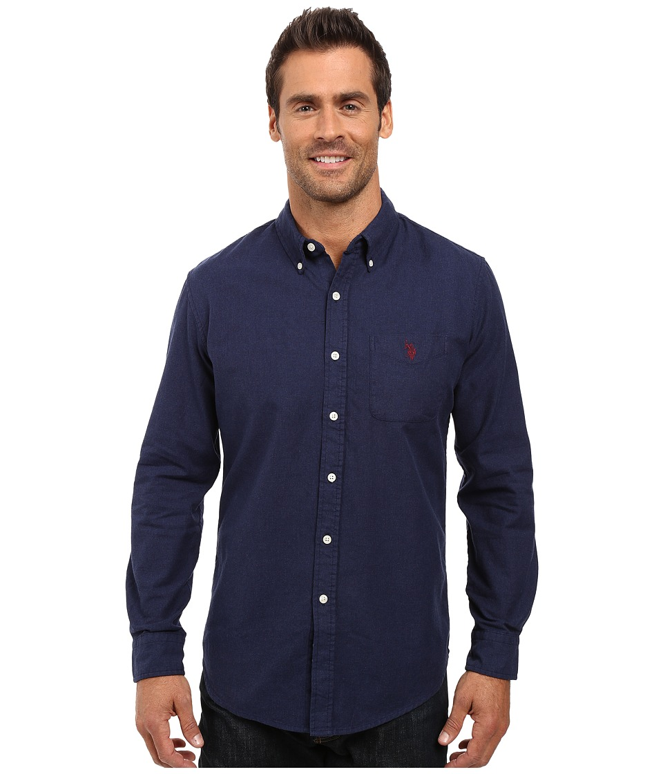 U.S. POLO ASSN. - Long Sleeve Solid Oxford Cloth Button Down Woven Shirt (Midnight Heather) Men's Clothing