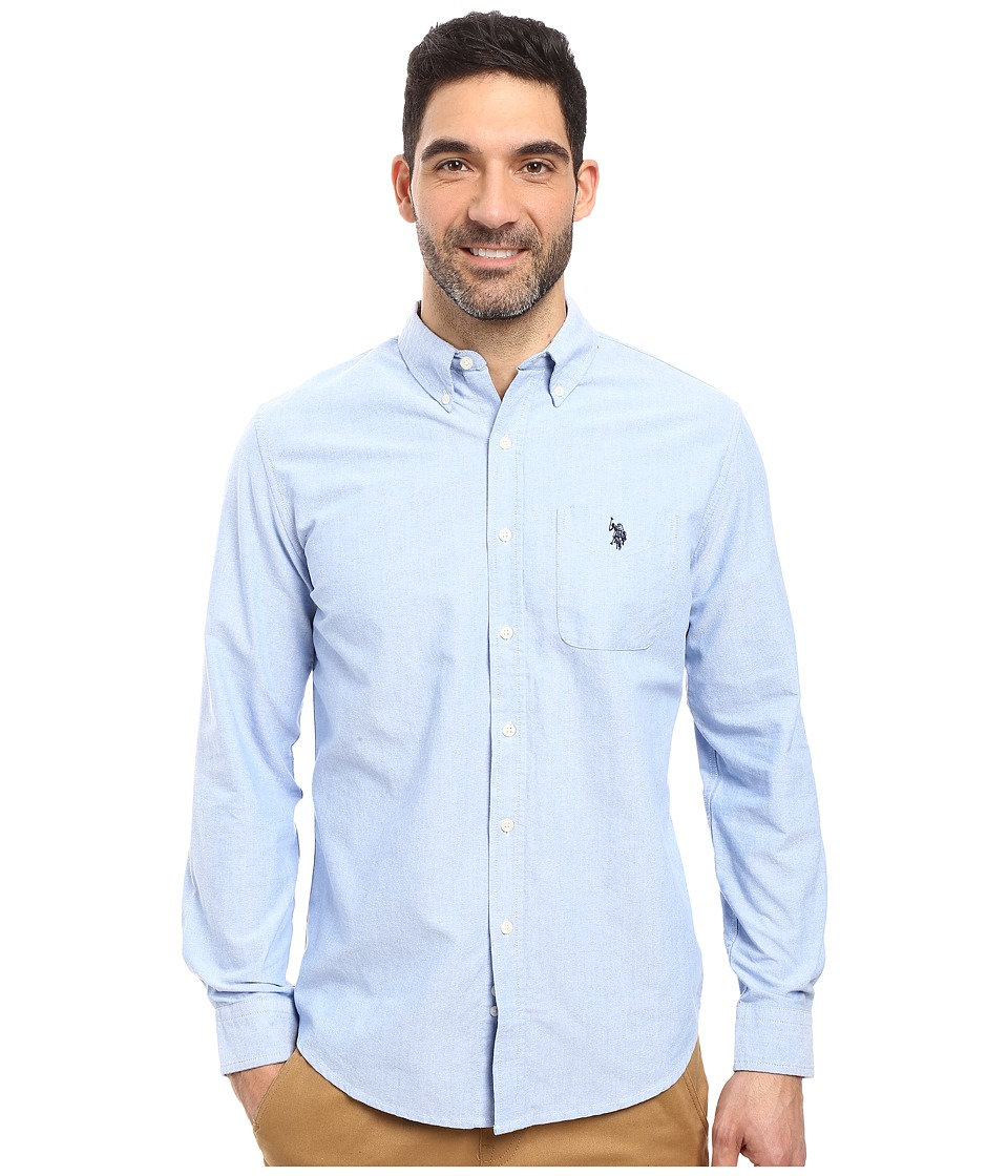 U.S. POLO ASSN. - Long Sleeve Classic Fit Solid Oxford Cloth Button Down Sport Shirt (Light Blue) Men's Clothing