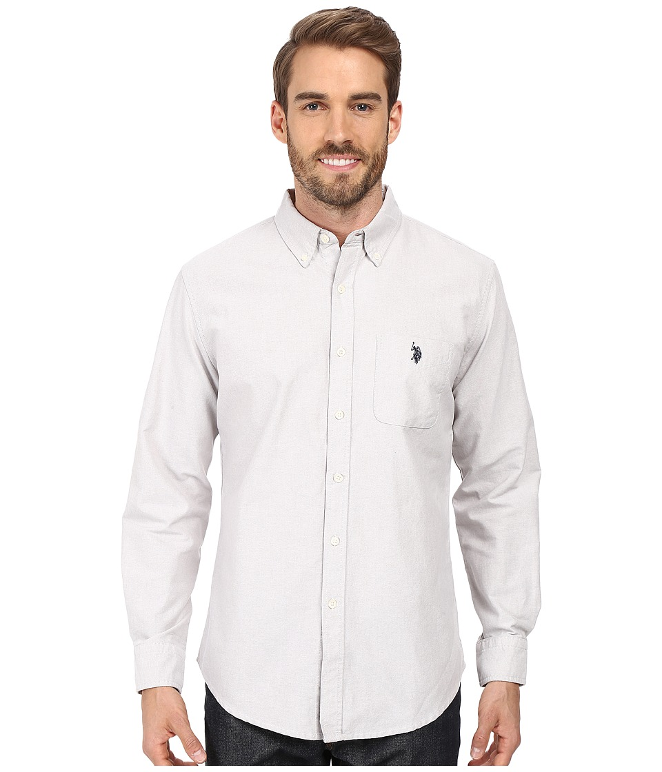 U.S. POLO ASSN. - Long Sleeve Classic Fit Solid Oxford Cloth Button Down Sport Shirt (Light Heather Gray) Men's Clothing