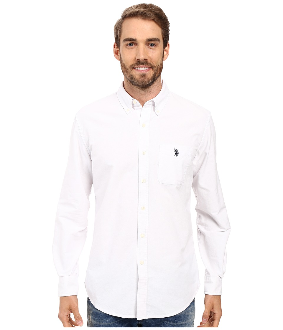 U.S. POLO ASSN. - Long Sleeve Classic Fit Solid Oxford Cloth Button Down Sport Shirt (Optic White) Men's Clothing