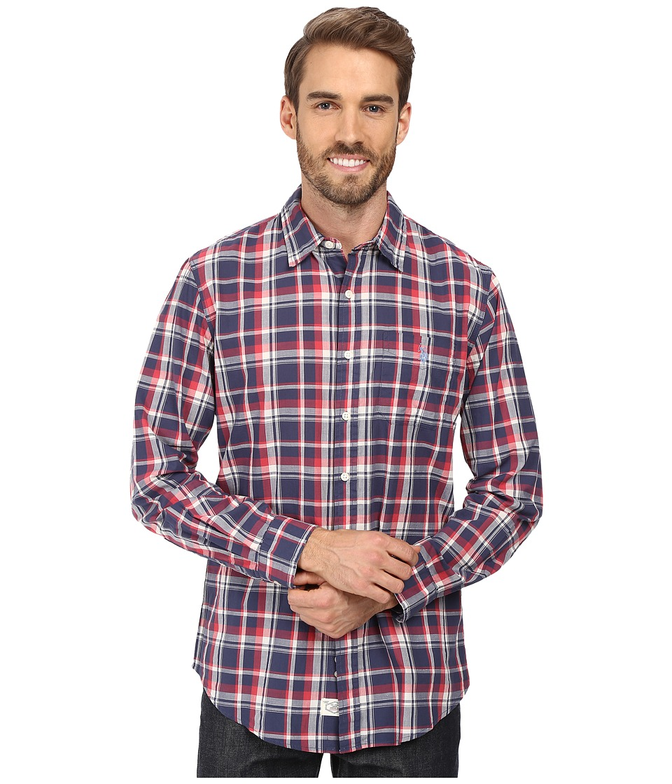 U.S. POLO ASSN. - Long Sleeve Classic Fit No Wrinkle Plaid Poplin Straight Point Collar Sport Shirt (Mood Indigo) Men's Clothing