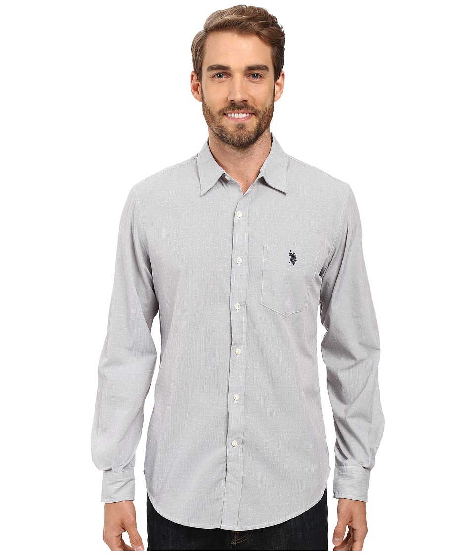 U.S. POLO ASSN. - Long Sleeve Slim Fit Dobby Stripe Sport Shirt (Mid Grey) Men's Clothing