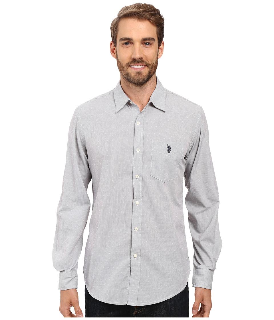 U.S. POLO ASSN. - Long Sleeve Slim Fit Dobby Stripe Sport Shirt (Mid Grey) Men's Clothing