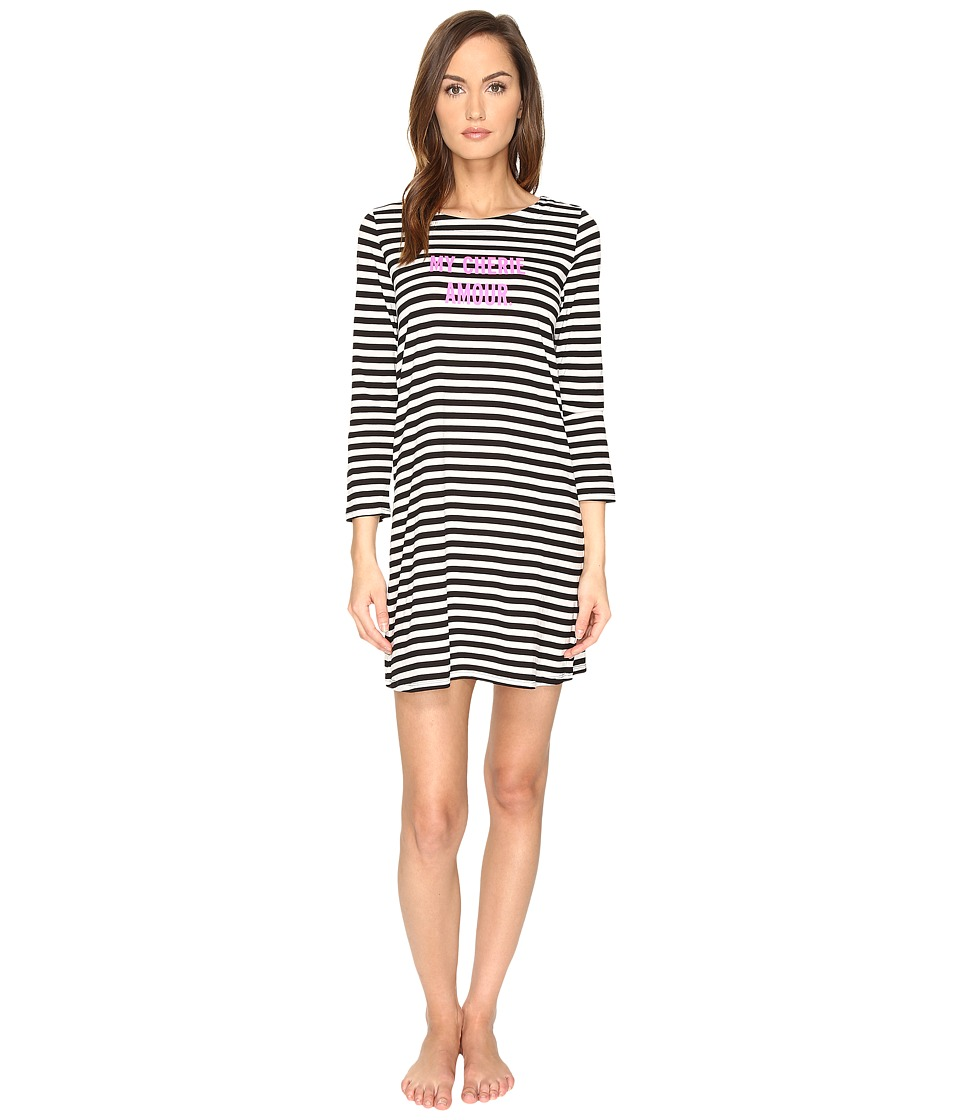 Kate Spade New York - My Cherie Amour Sleepshirt (Black/Cream Stripe) Women's Pajama