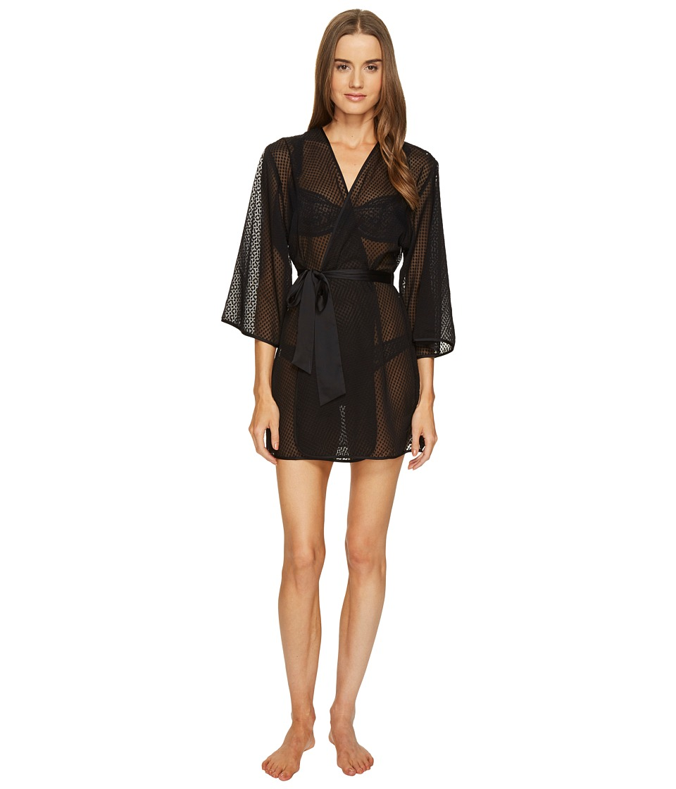 Kate Spade New York - Dot Jacquard Robe (Black) Women's Robe