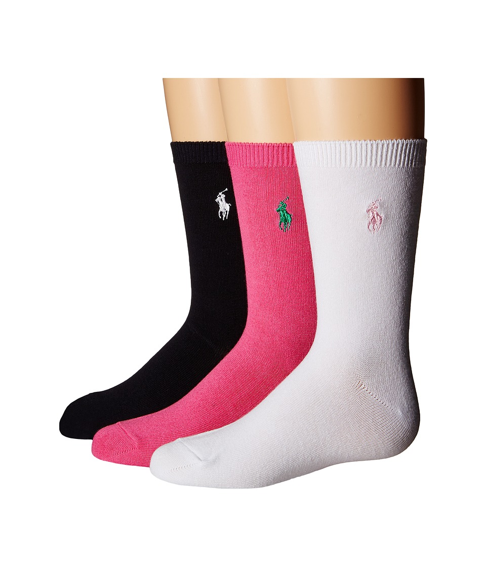 Polo Ralph Lauren - Flat Knit Trouser 3-Pack (Toddler/Little Kid) (Black/Pink/White) Women's Crew Cut Socks Shoes