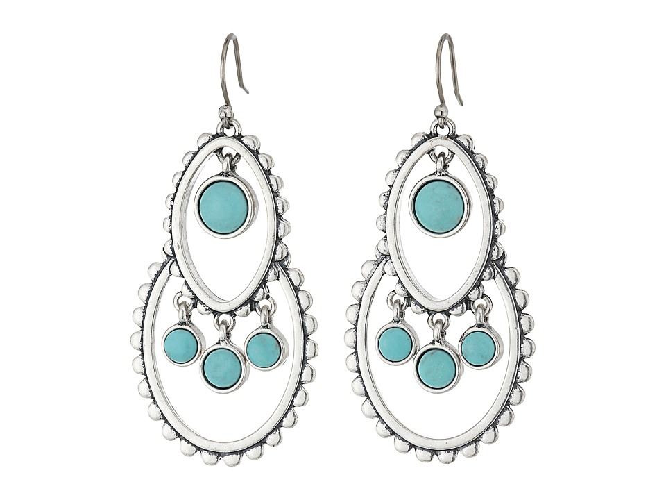 Lucky Brand - Turquoise Tribal Drop Earrings (Silver) Earring