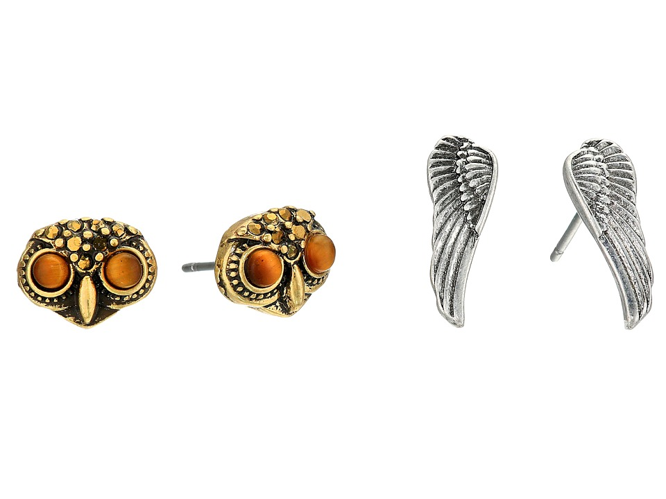 Lucky Brand - Owl Stud Earrings Set (Two-Tone) Earring