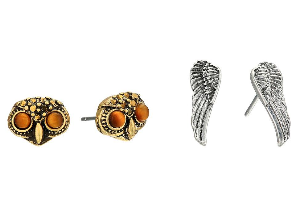 Lucky Brand - Owl Stud Earrings Set (Two-Tone) Earring