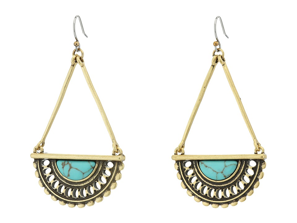 Lucky Brand - Turquoise Openwork Drop Earrings (Gold) Earring