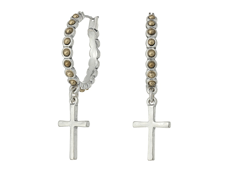 Lucky Brand - Cross Silver Dangle Hoop Earrings (Two-Tone) Earring