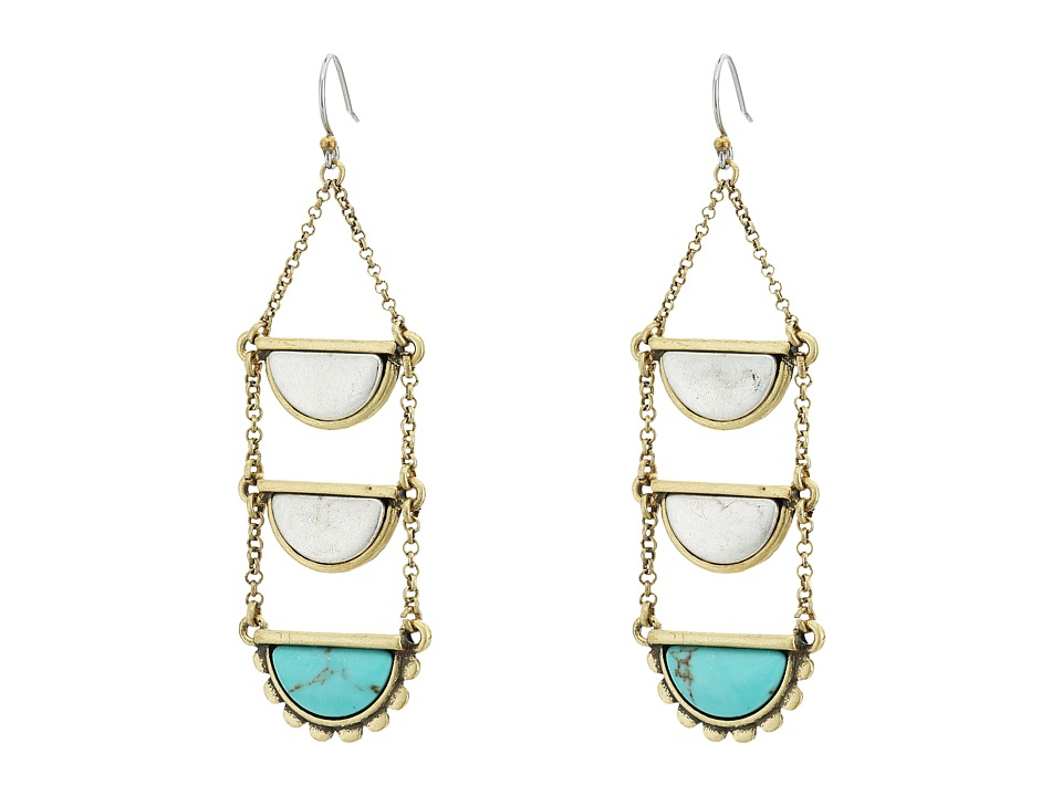 Lucky Brand - Turquoise Ladder Drop Earrings (Two-Tone) Earring