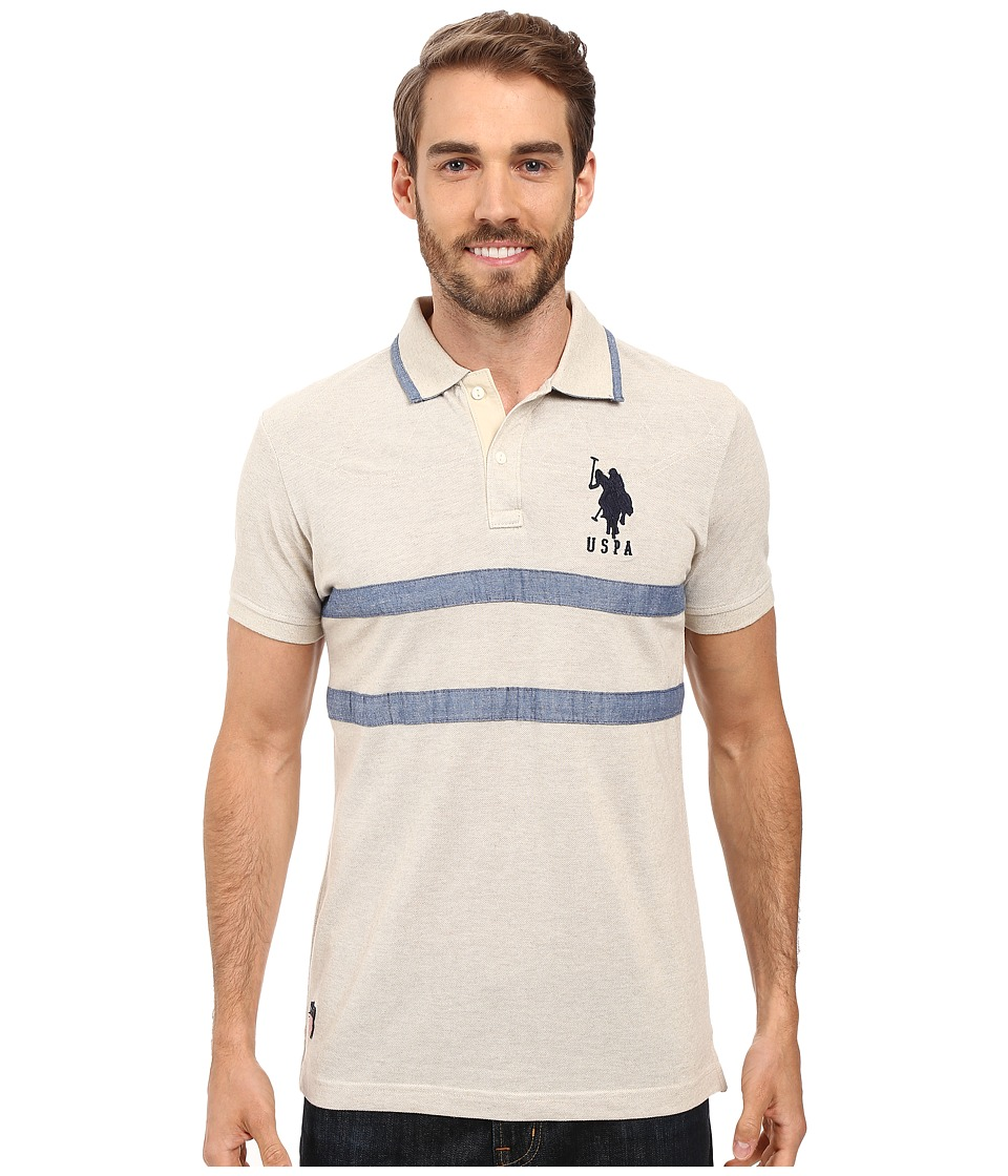 U.S. POLO ASSN. - Quilted Pique and Chambray Striped Polo Shirt (Oatmeal Heather) Men's Clothing