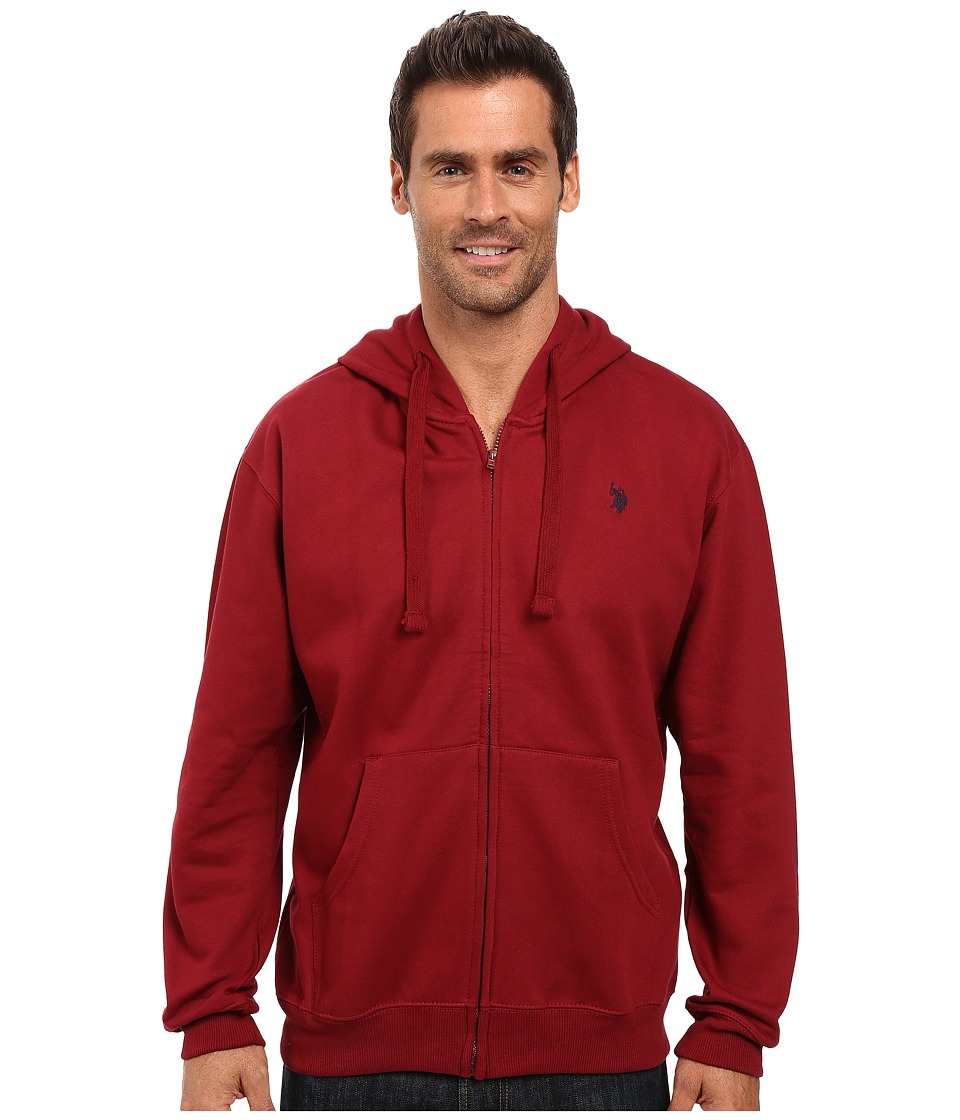U.S. POLO ASSN. - Full Zip Long Sleeve Hoodie with Small Pony (University Red) Men's Sweatshirt