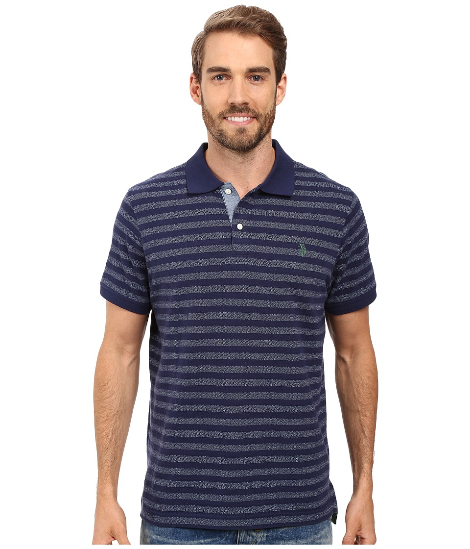 U.S. POLO ASSN. - Jacquard Bengal Striped Polo Shirt (Classic Navy) Men's Clothing
