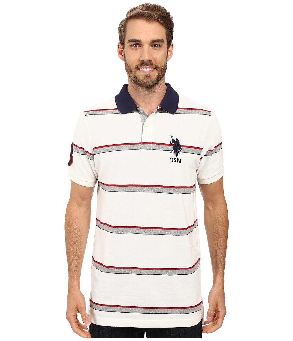 U.S. POLO ASSN. - Shadow Striped Pique Polo Shirt (White Winter) Men's Clothing