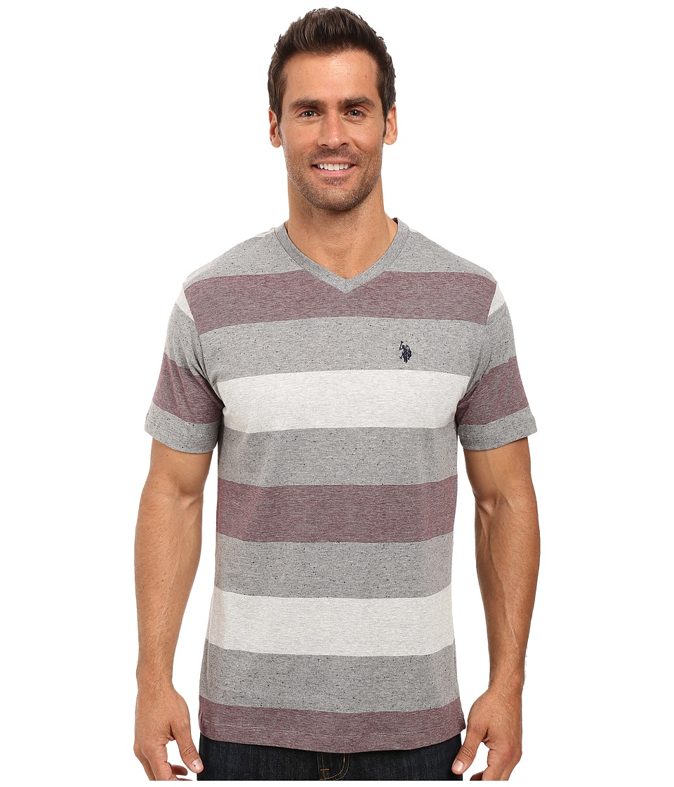 U.S. POLO ASSN. - V-Neck Tri-Colored Stripe T-Shirt (East Burgundy) Men's T Shirt