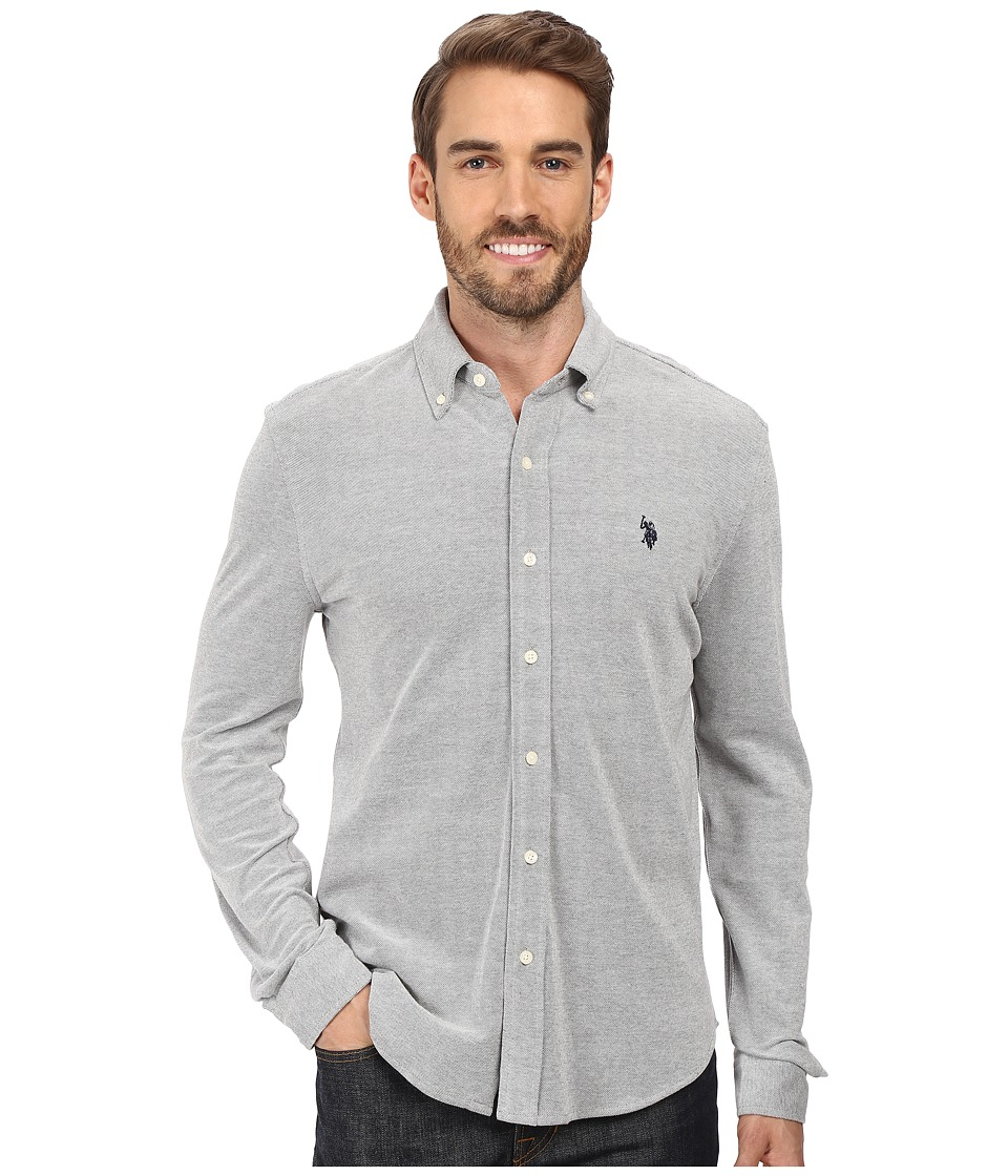 U.S. POLO ASSN. - Long Sleeve Slim Fit Birdseye Pique Button Down Sport Shirt (Campus Heather Grey) Men's Clothing