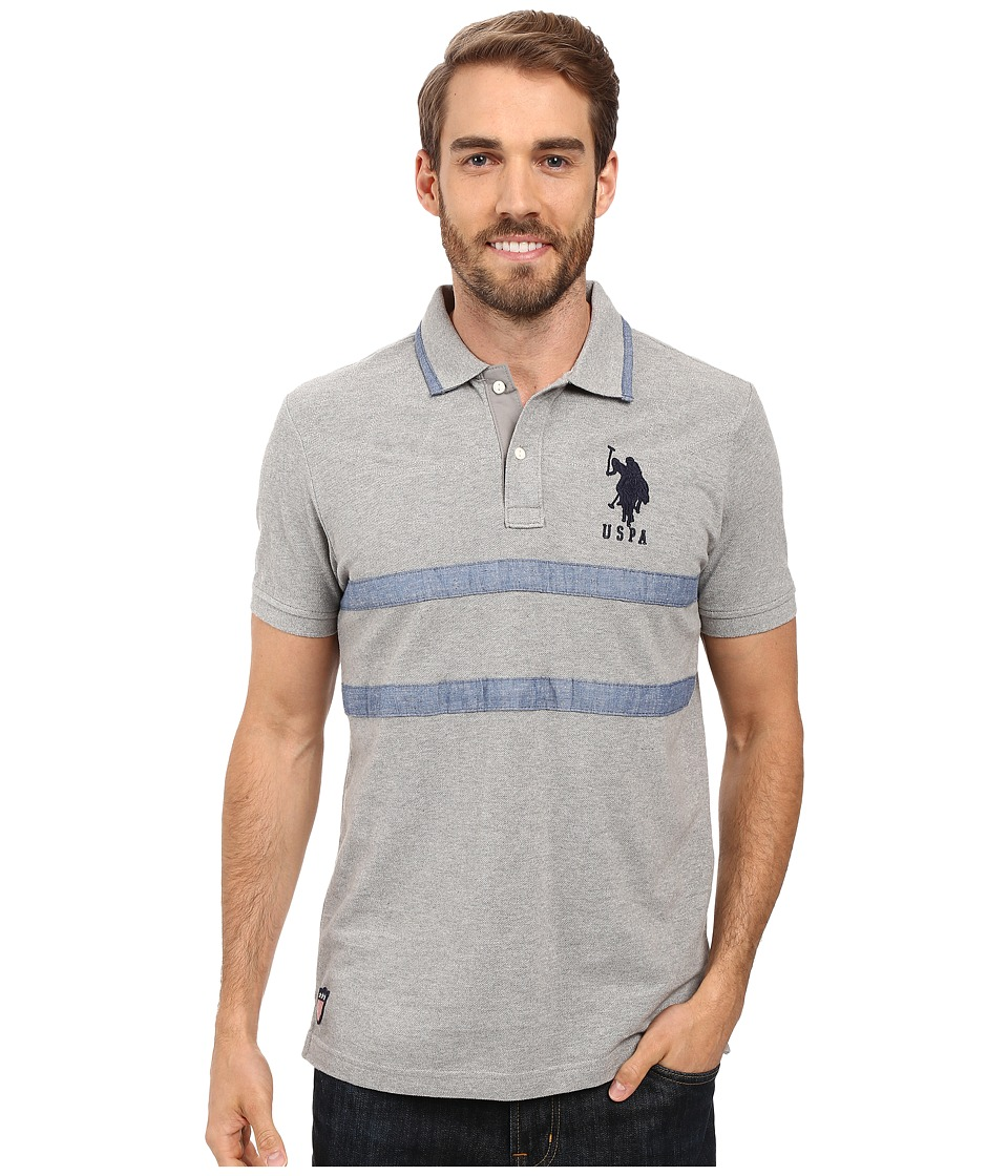 U.S. POLO ASSN. - Quilted Pique and Chambray Striped Polo Shirt (Heather Grey) Men's Clothing