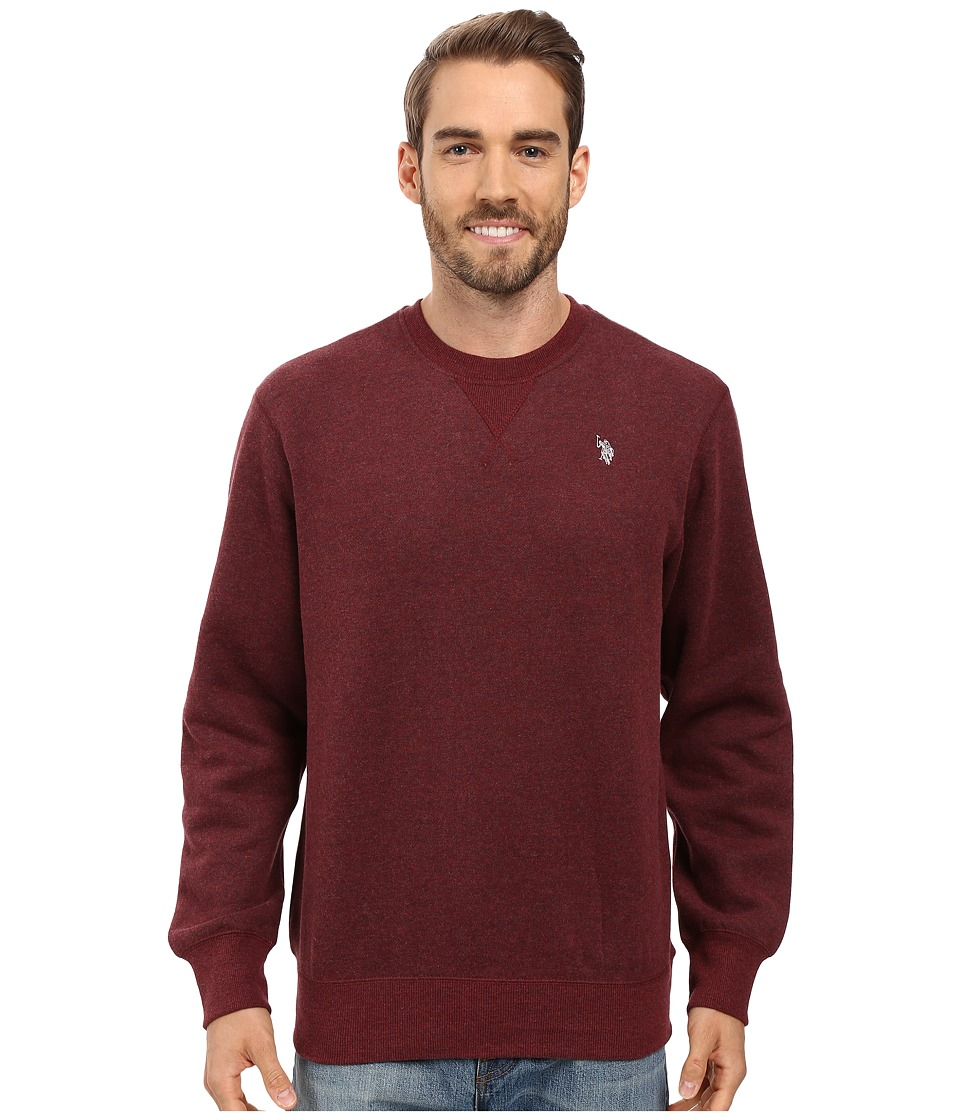 U.S. POLO ASSN. - Fleece Crew Neck Sweatshirt (Burgundy Heather) Men's Sweatshirt