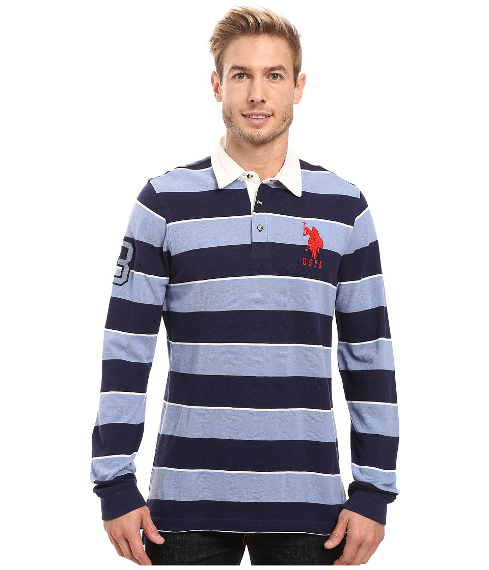 U.S. POLO ASSN. - Long Sleeve Rugby Striped Polo Shirt (Classic Navy) Men's Long Sleeve Pullover