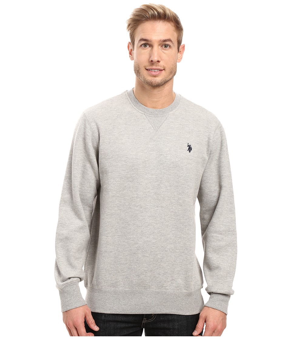 U.S. POLO ASSN. - Fleece Crew Neck Sweatshirt (Heather Grey) Men's Sweatshirt