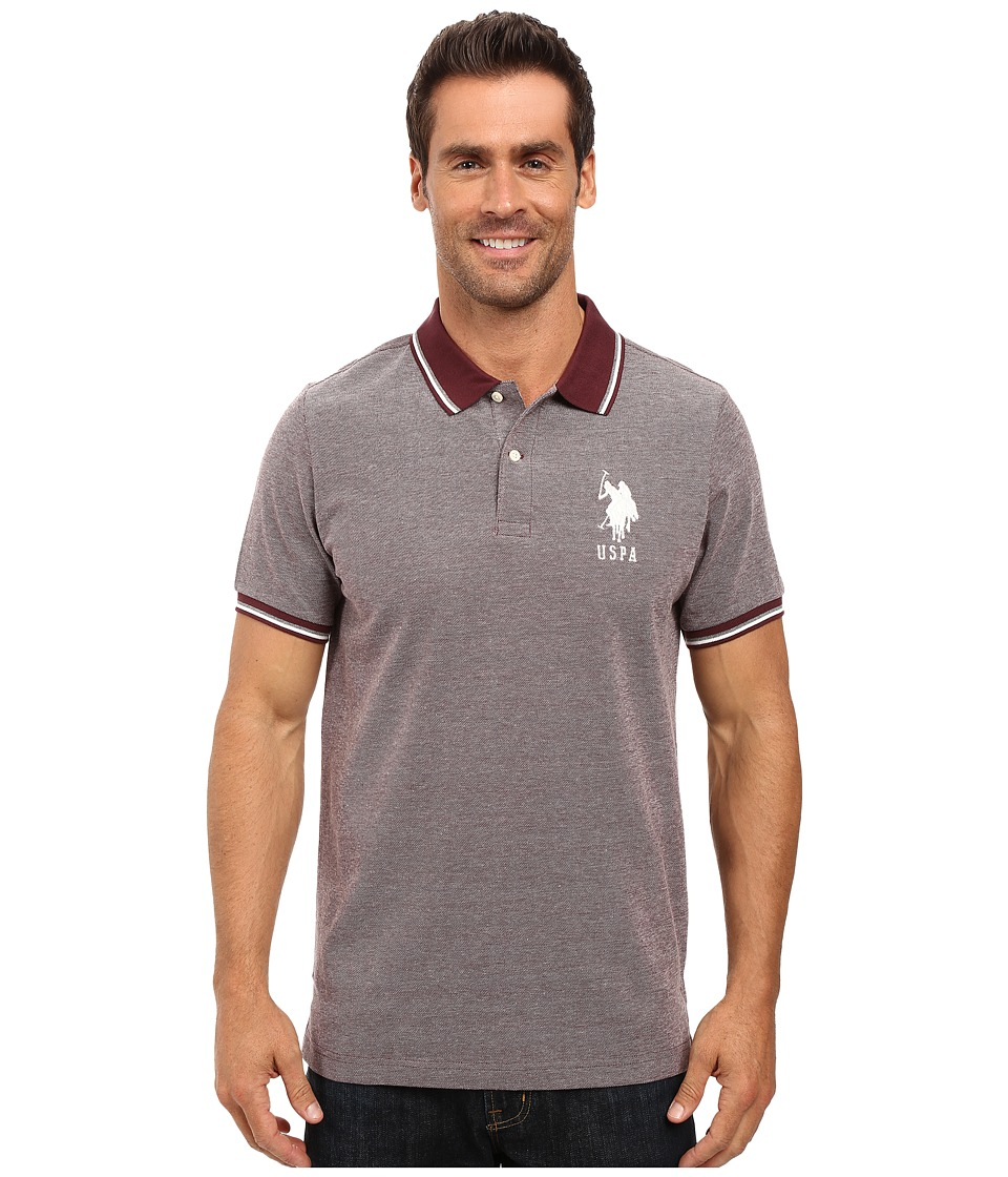 U.S. POLO ASSN. - Color Tipped Collar and Sleeve Cuff Pique Polo Shirt (East Burgundy) Men