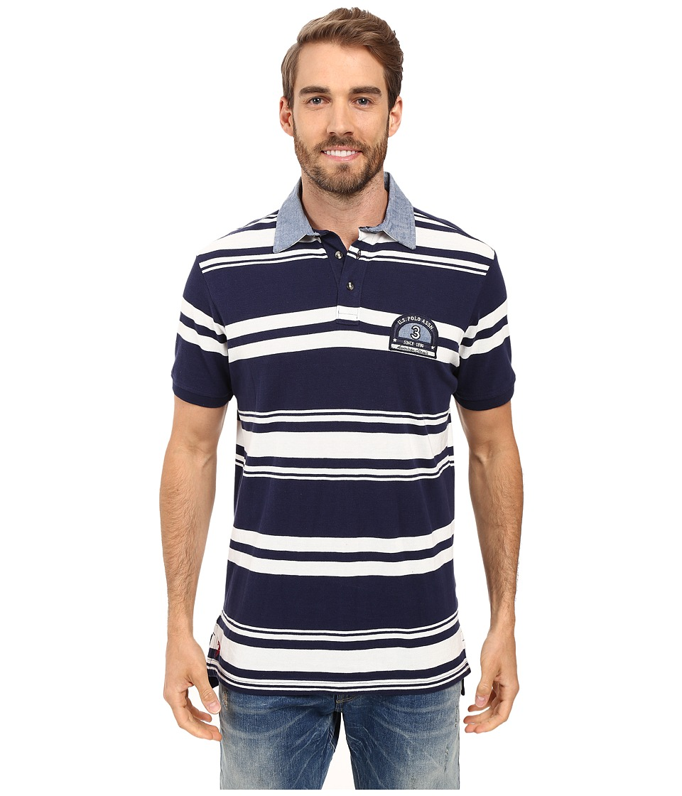 U.S. POLO ASSN. - Bar Code Stripe Pique Polo Shirt with Chambray Collar (Classic Navy) Men's Clothing