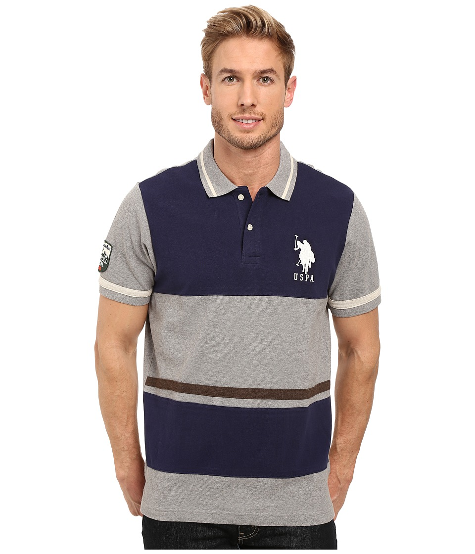 U.S. POLO ASSN. - Color Blocked Pique Polo Shirt (Classic Navy) Men's Clothing