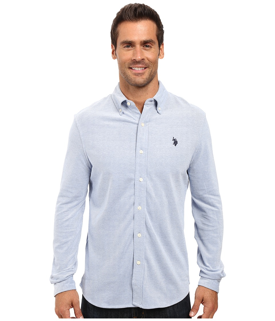 U.S. POLO ASSN. - Long Sleeve Slim Fit Birdseye Pique Button Down Sport Shirt (Vista Blue Heather) Men's Clothing