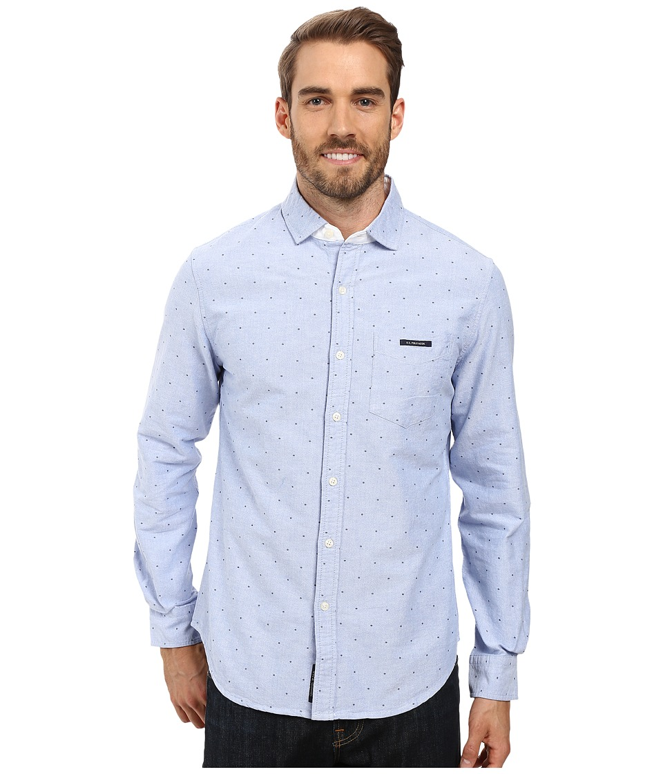 U.S. POLO ASSN. - Long Sleeve Slim Fit Dot Printed Oxford Cloth Spread Collar Sport Shirt (Light Blue) Men's Clothing