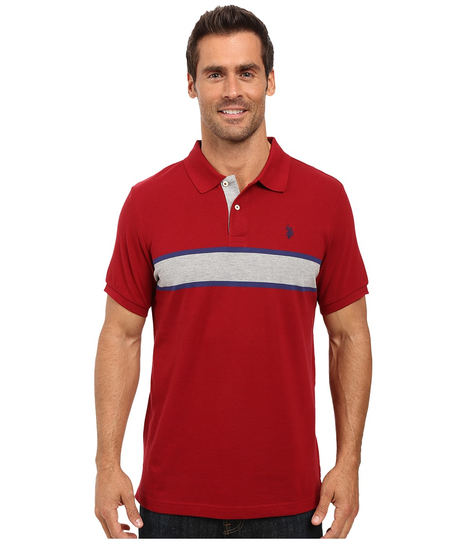 U.S. POLO ASSN. - Engineered Chest Stripe Pique Polo Shirt (University Red) Men's Clothing