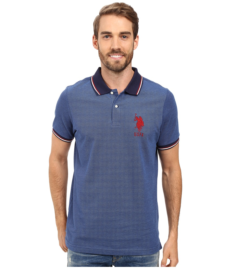 U.S. POLO ASSN. - Color Tipped Collar and Sleeve Cuff Pique Polo Shirt (Classic Navy) Men's Clothing