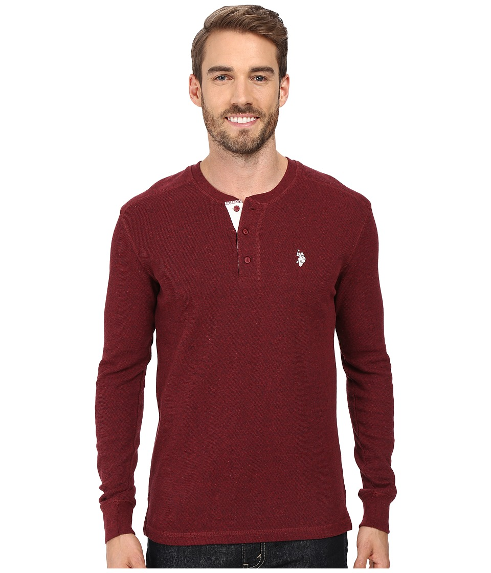 U.S. POLO ASSN. - Long Sleeve Slim Fit Fleck Thermal Henley Pullover (Burgundy Heather) Men's Clothing