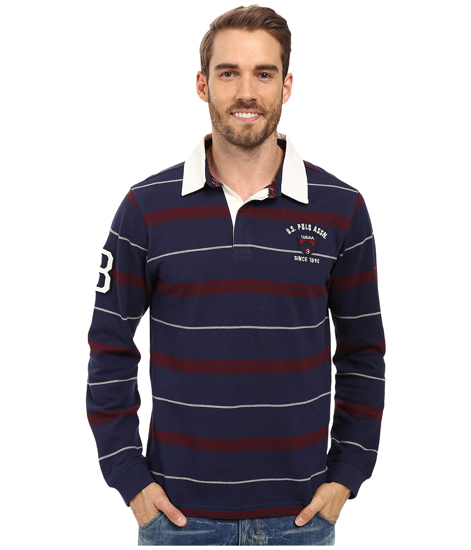 U.S. POLO ASSN. - Long Sleeve Rugby Striped Crest Patch Polo Shirt (Classic Navy) Men's Long Sleeve Pullover