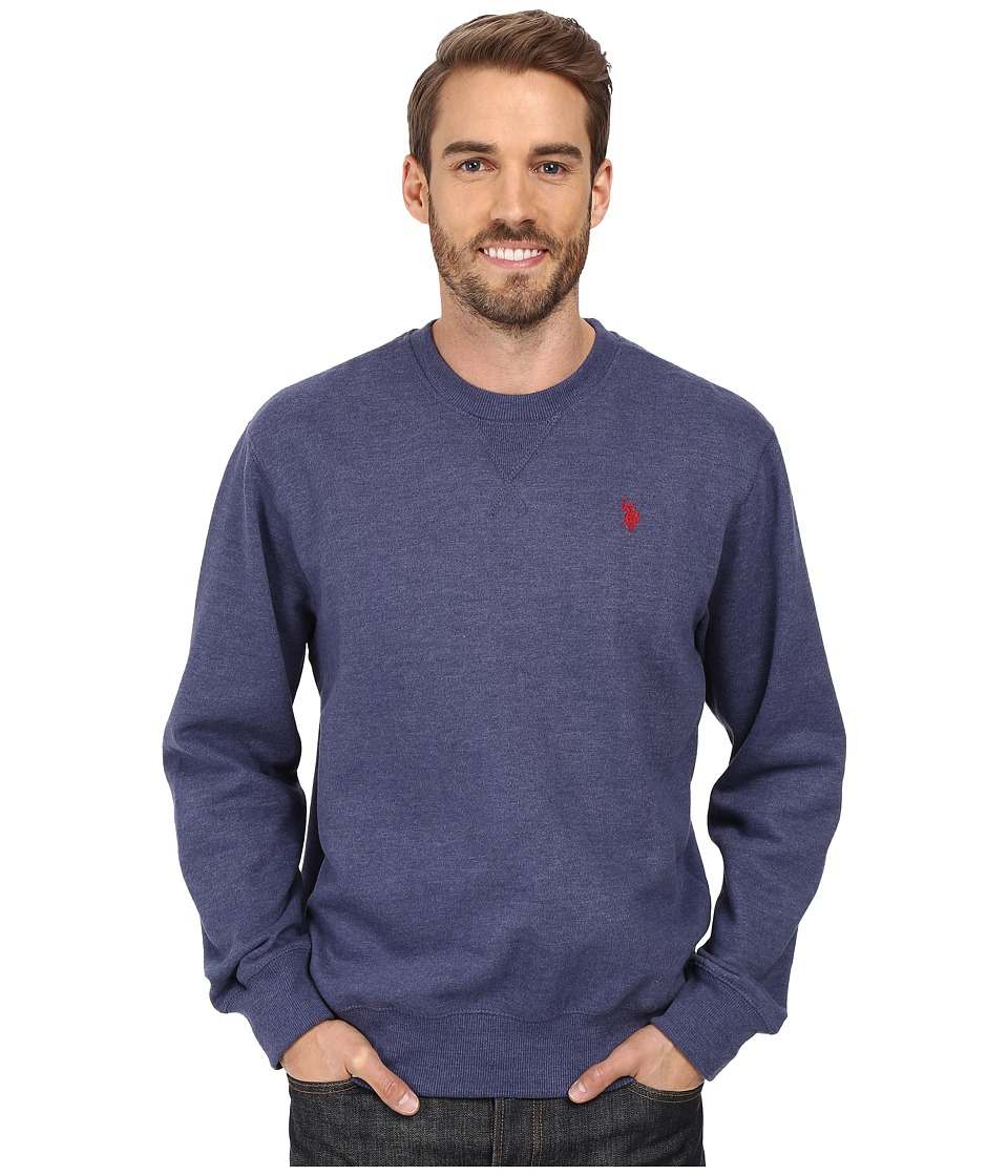 U.S. POLO ASSN. - Fleece Crew Neck Sweatshirt (Dodger Blue Heather) Men's Sweatshirt