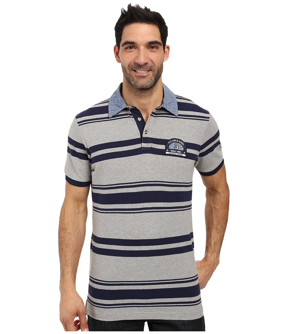 U.S. POLO ASSN. - Bar Code Stripe Pique Polo Shirt with Chambray Collar (Heather Grey) Men's Clothing