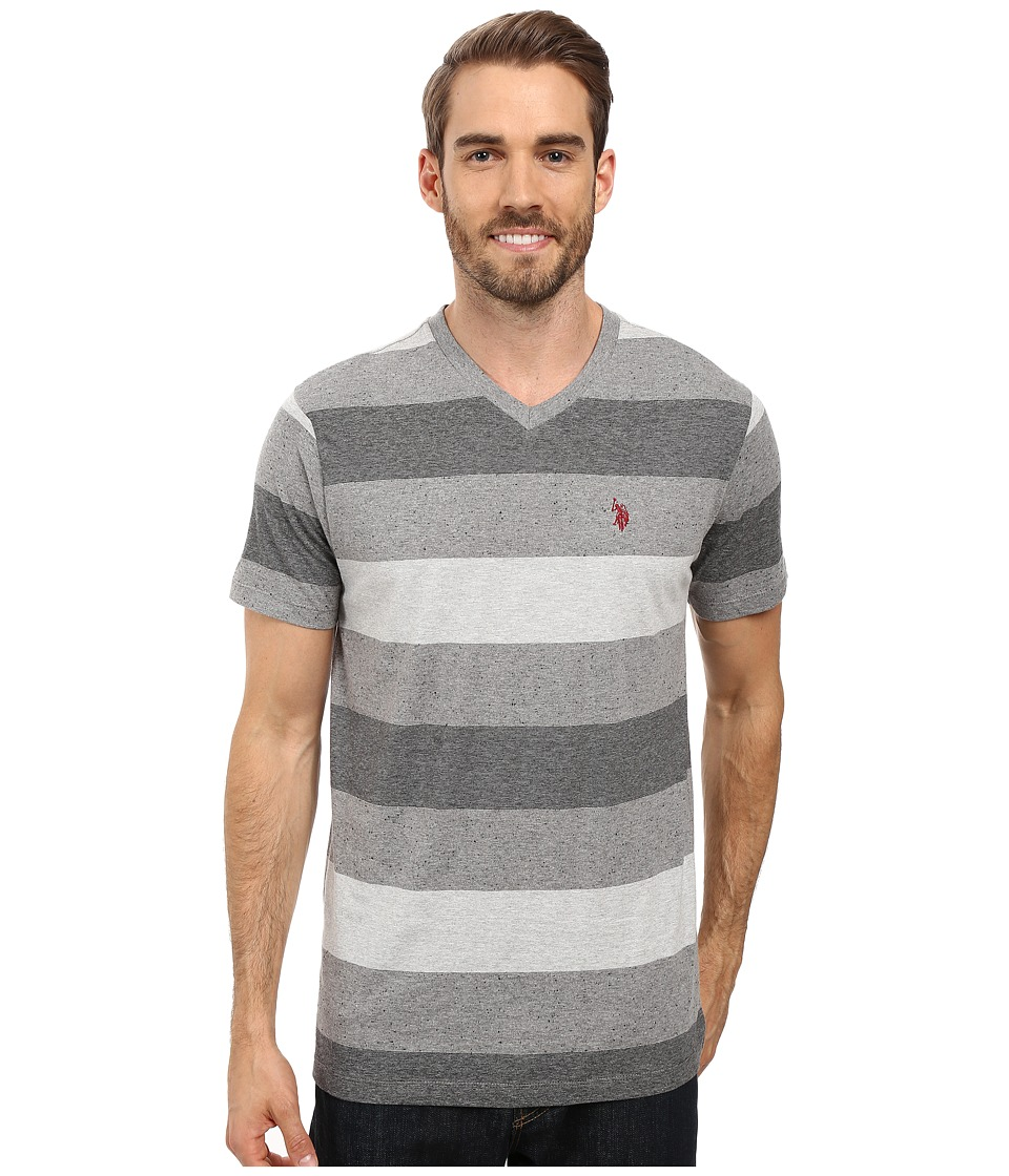 U.S. POLO ASSN. - V-Neck Tri-Colored Stripe T-Shirt (Black) Men's T Shirt