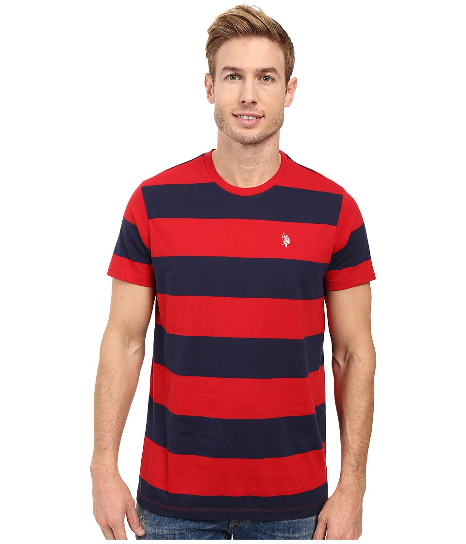 U.S. POLO ASSN. - Rugby Stripe Crew Neck T-Shirt (Red Accent) Men