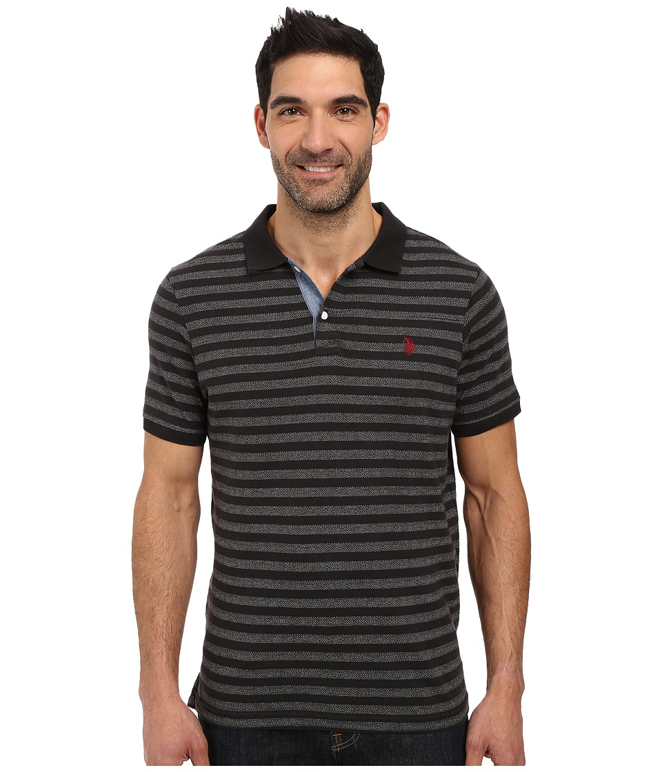 U.S. POLO ASSN. - Jacquard Bengal Striped Polo Shirt (Black) Men's Clothing