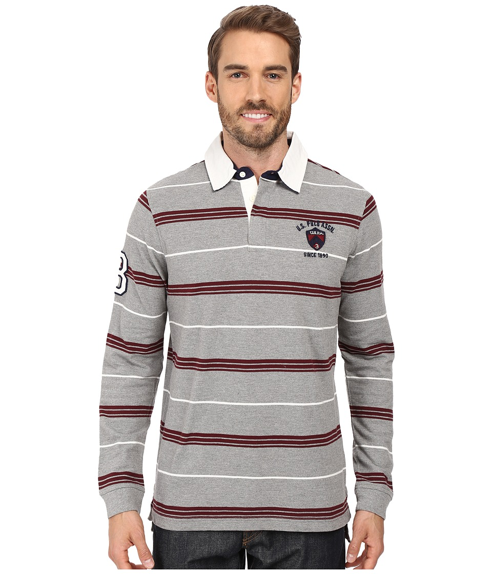 U.S. POLO ASSN. - Long Sleeve Rugby Striped Crest Patch Polo Shirt (Campus Heather Grey) Men's Long Sleeve Pullover