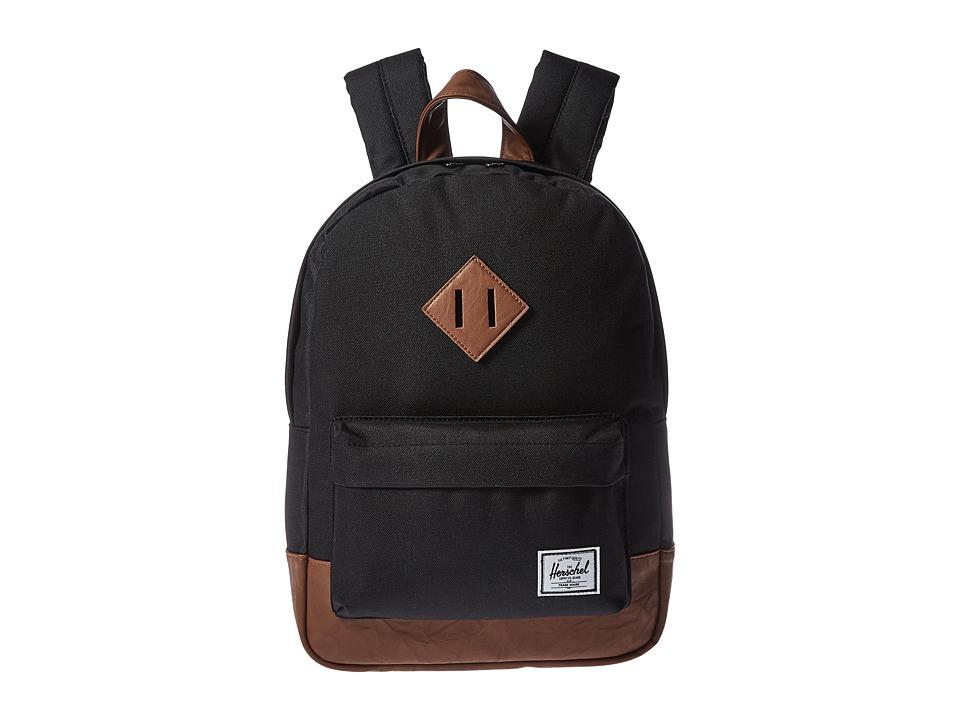 Herschel Supply Co. - Heritage Kids (Little Kids/Big Kids) (Black/Tan Synthetic Leather) Backpack Bags