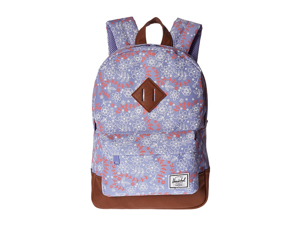 Herschel Supply Co. - Heritage Kids (Little Kids/Big Kids) (Meadow/Tan Synthetic Leather) Backpack Bags