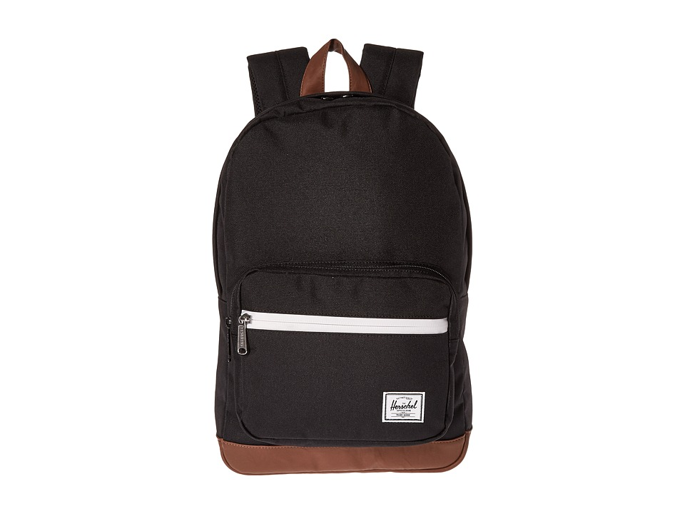 Herschel Supply Co. - Pop Quiz Youth (Black/Tan Synthetic Leather 1) Backpack Bags