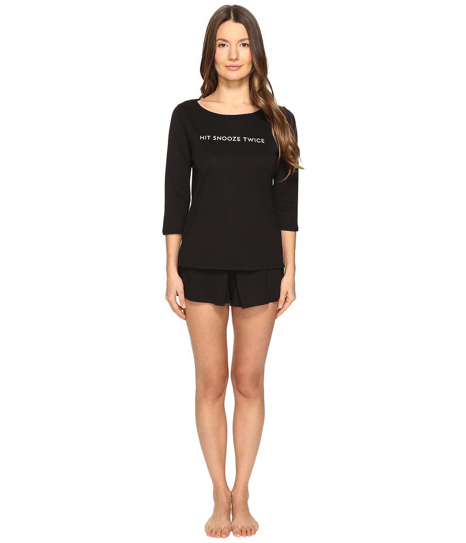 Kate Spade New York - Hit Snooze Twice Skort PJ Set (Black) Women's Pajama Sets