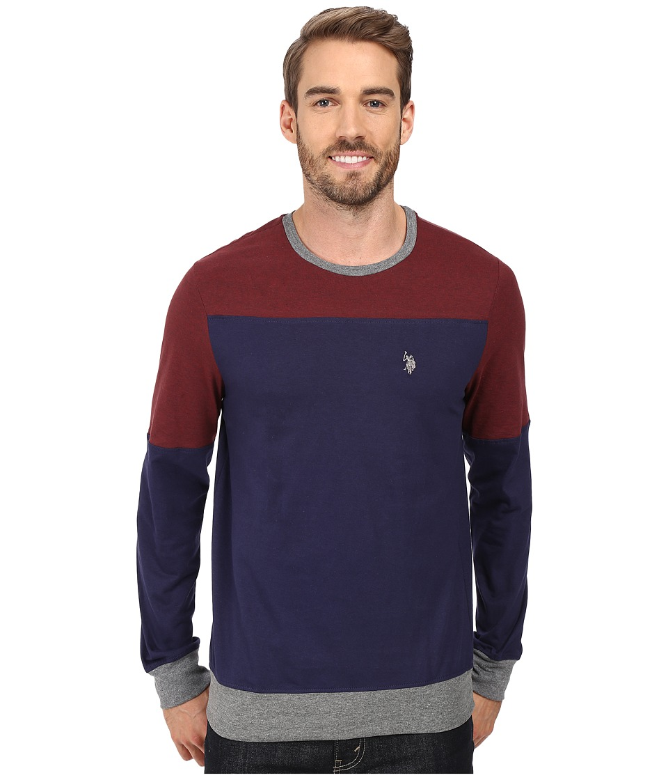 U.S. POLO ASSN. - Long Sleeve Color Block Crew Neck Knit Shirt (Classic Navy) Men's Clothing