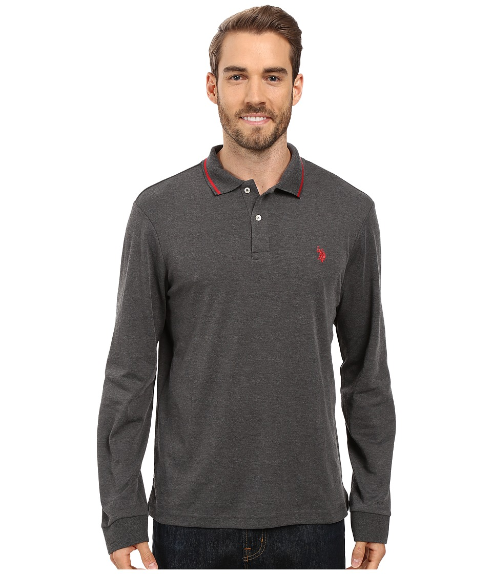 U.S. POLO ASSN. - Long Sleeve Cotton Interlock Polo Shirt (Heather Dark Gray) Men's Long Sleeve Pullover