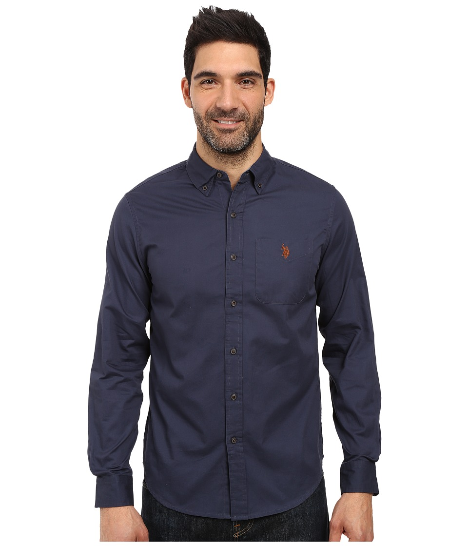 U.S. POLO ASSN. - Long Sleeve Slim Fit Brushed Twill Sport Shirt (Mood Indigo) Men's Clothing