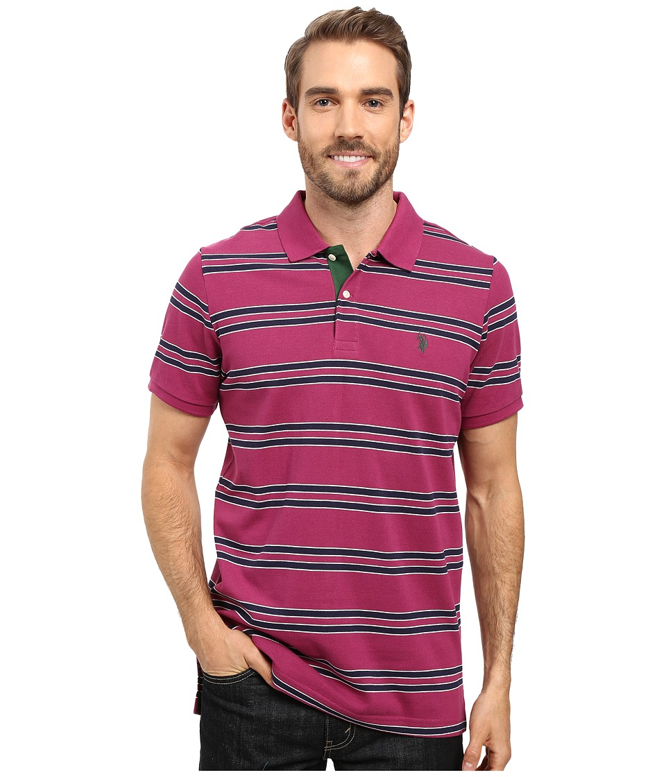 U.S. POLO ASSN. - Short Sleeve Balanced Stripe Pique Polo Shirt (Midnight Berry) Men's Short Sleeve Pullover